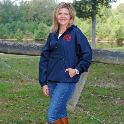 Monogrammed Lightweight Hooded Rain Pullover - Available in Several Colors