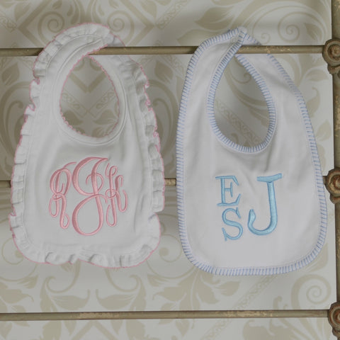 Monogrammed Decorative Edge Bib in Blue Stitch or Pink Ruffle