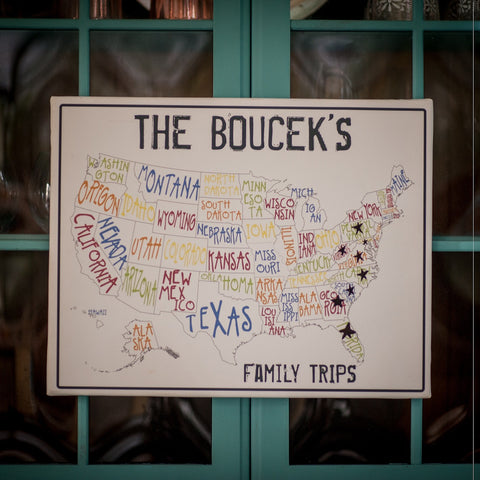 Personalized Family Map Canvas Print