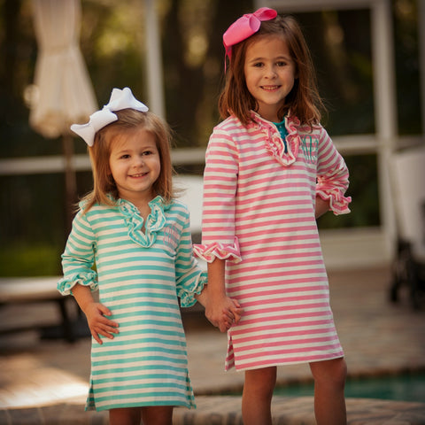 Monogrammed Striped Knit Cover Up - Girls - Available in 3 Colors
