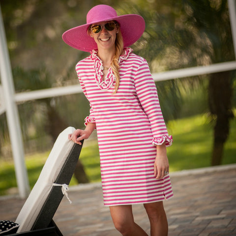 Monogrammed Striped Knit Cover Up - Ladies