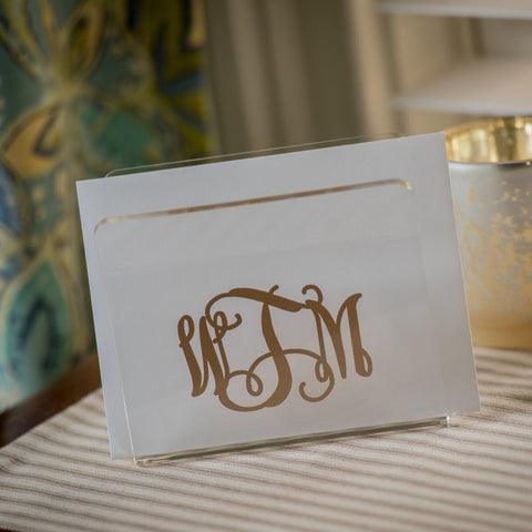 Monogrammed Acrylic Napkin/Note Holder