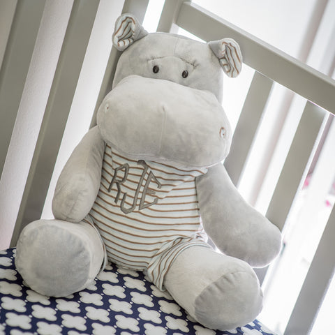Super Sweet and Soft Monogrammed Hippo - Choose Pink or Blue