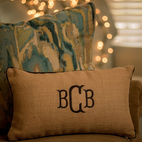 Monogrammed Jute Accent Pillow