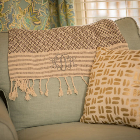 Woven Throw with Braided Tassel