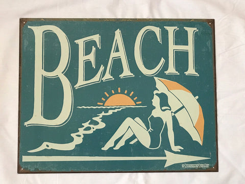 Tin Signs: Beach this way
