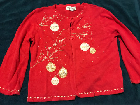 Ugly Christmas Sweater: Red Ornaments