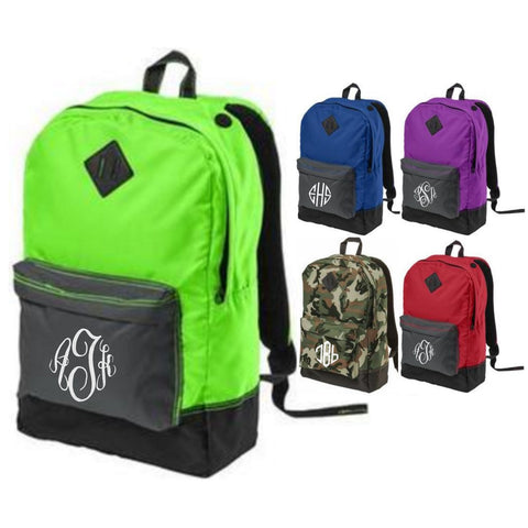 Monogrammed Contrast Color Backpack - Available in Several Colors