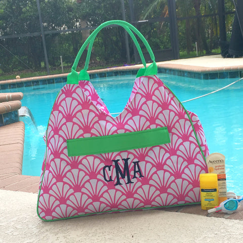 Monogrammed Beach Bag in Five Patterns