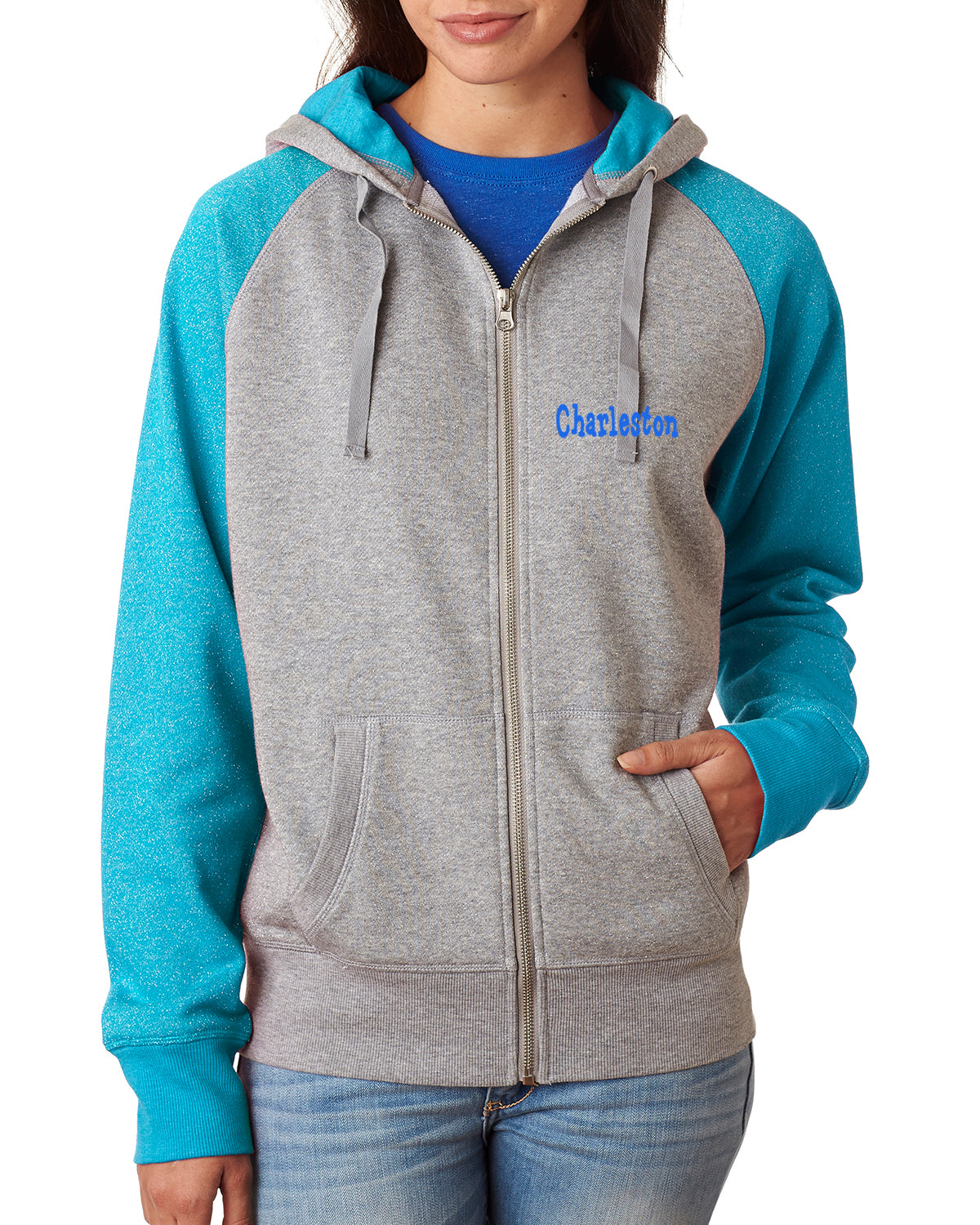 Embroidered J-America Glitter French Terry Contrast Full-Zip Hood