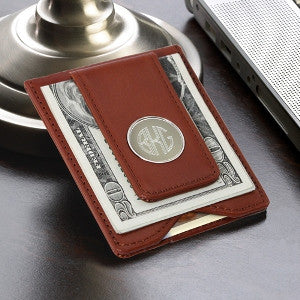 Engraved Leather Wallet and Money Clip - Choose Black or Brown