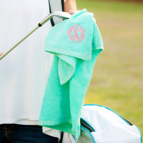 Monogrammed Golf Towel in Five Colors
