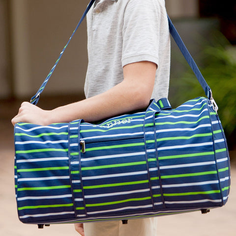 Preppy Stripes Monogrammed Duffel