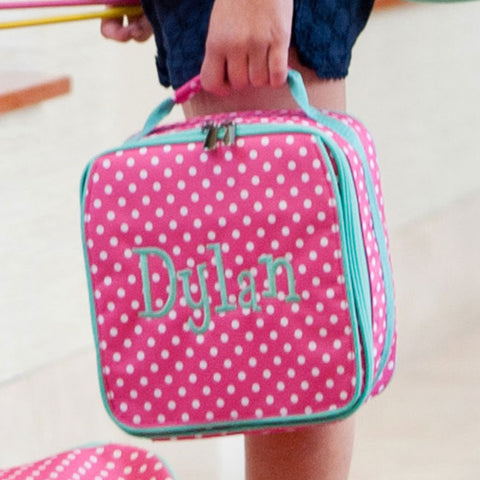 Pink Dots Monogrammed Lunch Tote