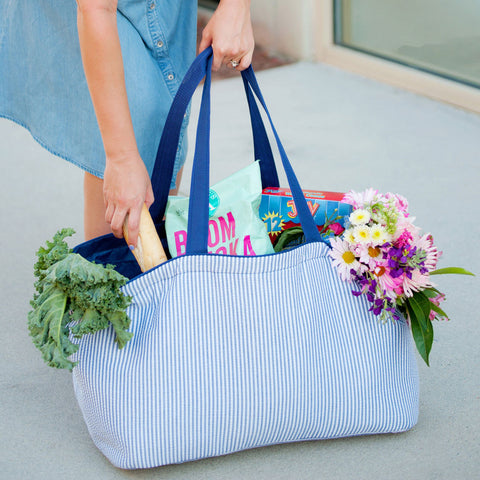 Monogrammed Seersucker Carry-All Tote