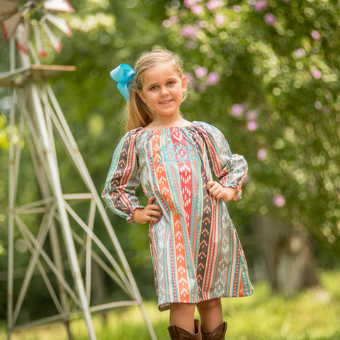 Aztec Long Sleeve Everyday Dress