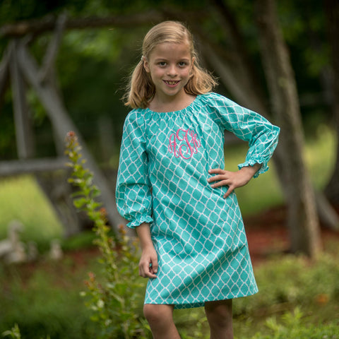 Aqua Quatrefoil Long Sleeve Every Day Dress
