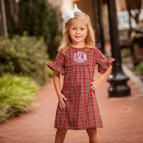 Monogrammed Plaid Hendley Dress