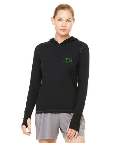Embroidered Ladies Performance Triblend Long-Sleeve Hooded