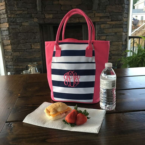 Monogrammed Cooler Tote in Four Patterns