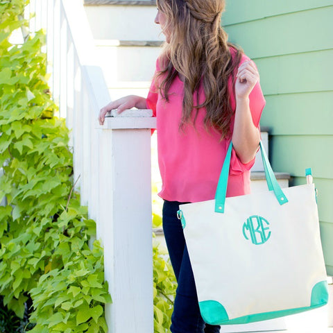 Monogrammed Canvas Shoulder Bag - Available in 3 Colors!