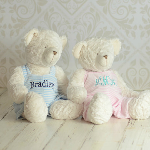 Super Sweet and Soft Monogrammed Bear - Choose Pink or Blue