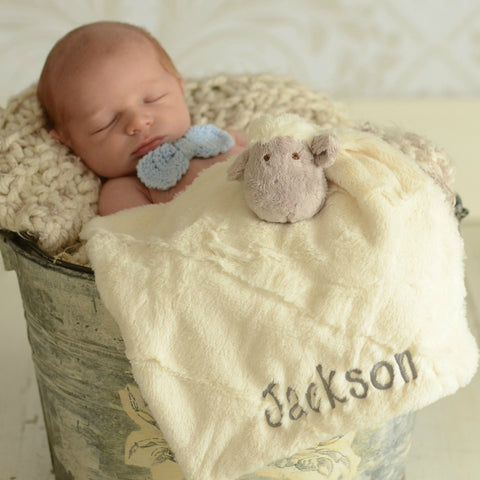 Super Soft Monogrammed Lovie - Choose Elephant or Lamb
