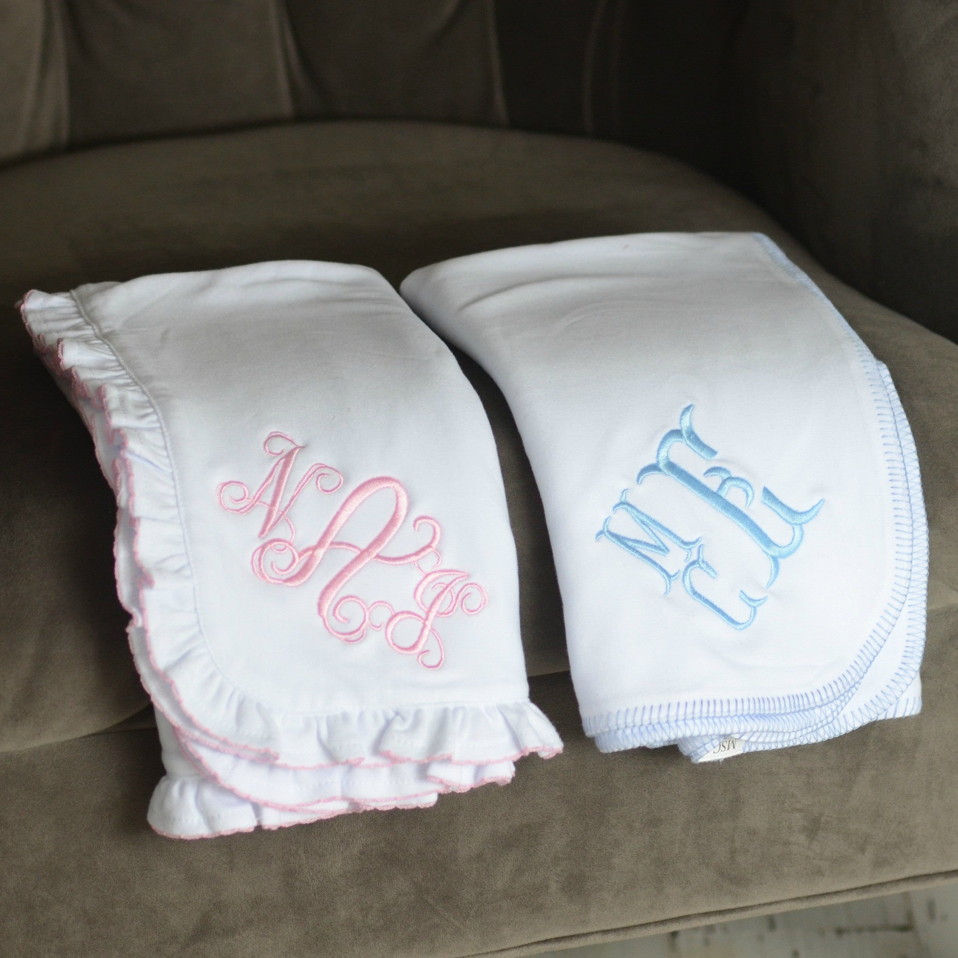 Monogrammed Baby Blanket Choose Blue Stitch or Pink Ruffle