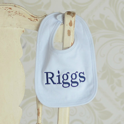 Monogrammed Solid Bib in Blue, Pink or White