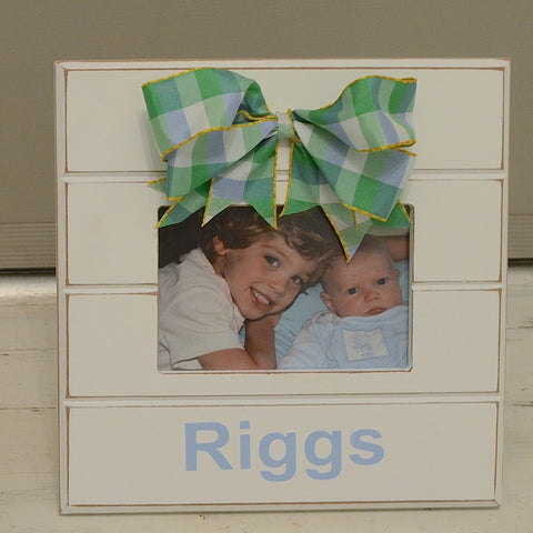 Personalized Square Frame with Pink or Blue Checkered Bow
