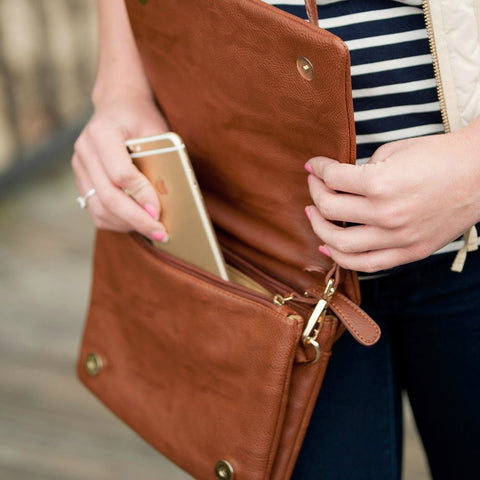 Monogrammed Foldover Crossbody Purse-three colors available