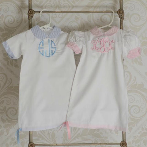 Monogrammed Day Gown with Seersucker Accents - Choose Blue or Pink