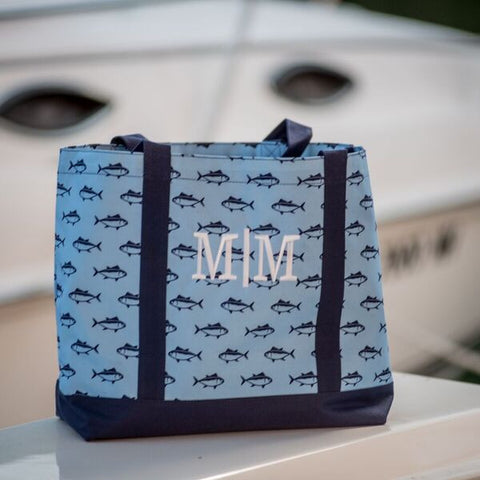 Monogrammed Tote - Blue Fish Pattern