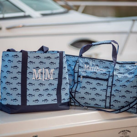 Monogrammed Duffel Bag - Blue Fish Pattern