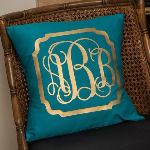 Personalized Pillow Cover with Border - Available in Several Styles and Colors