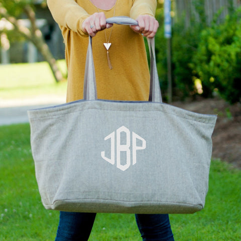 Monogrammed Neutral Herringbone Carry All Tote