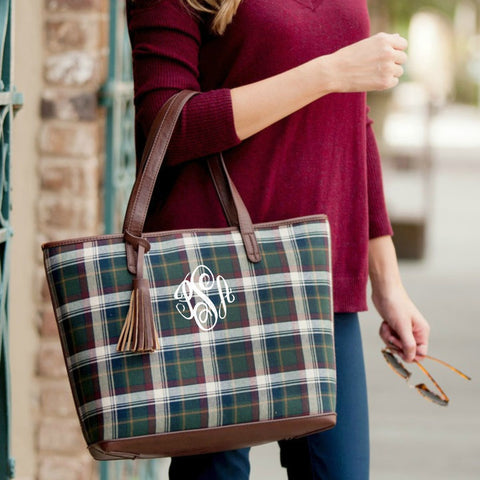 Monogrammed Plaid Tote with Tassel Accent