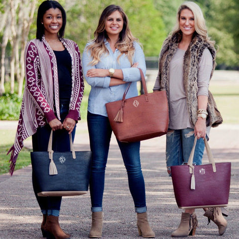 Monogrammed Tassel Tote-four colors