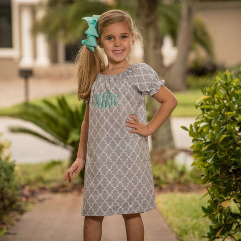 Monogrammed Short Sleeve Everyday Dress - Gray Quatrefoil