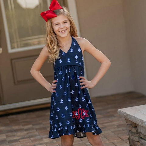 Monogrammed Anchor Halter Dress