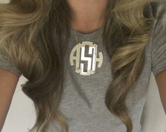Block Monogram Necklace in Sterling Silver