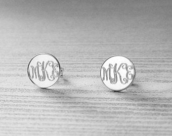 Silver Monogram Stud Earrings