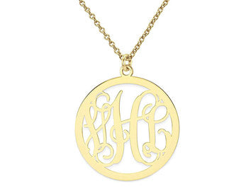 Solid 14k gold monogram necklace preppypersonalized solid 14k gold monogram necklace aloadofball Image collections