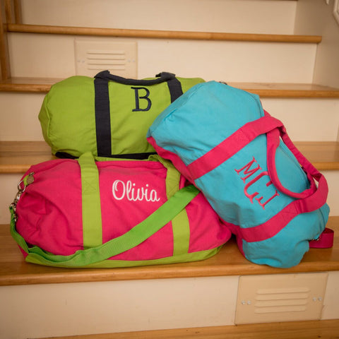 Preppy Monogrammed Duffel - Green with Navy Trim