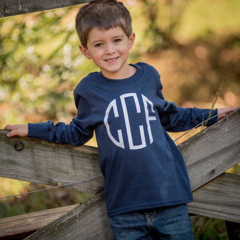 Personalized Boy's Long Sleeve T-Shirt - Available in Several Colors