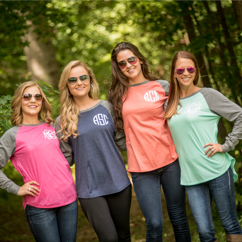 Personalized Long Sleeve T-Shirt with Contrasting Sleeves - Choose from 9 Colors