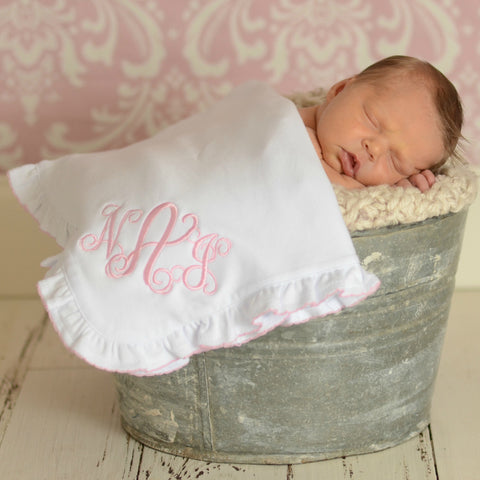 Monogrammed Baby Blanket - Choose Blue Stitch or Pink Ruffle