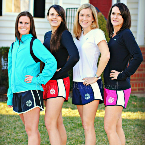 Monogrammed Ladies Running Shorts - Twelve Colors Available!
