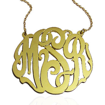 Script Monogrammed Necklace on Split Chain