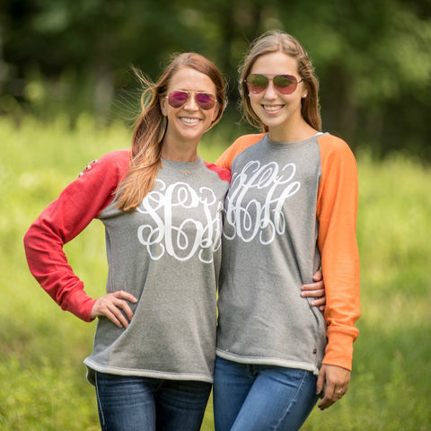 Personalized Sweatshirt Crew with Contrasting Sleeves - Available in 11 Colors